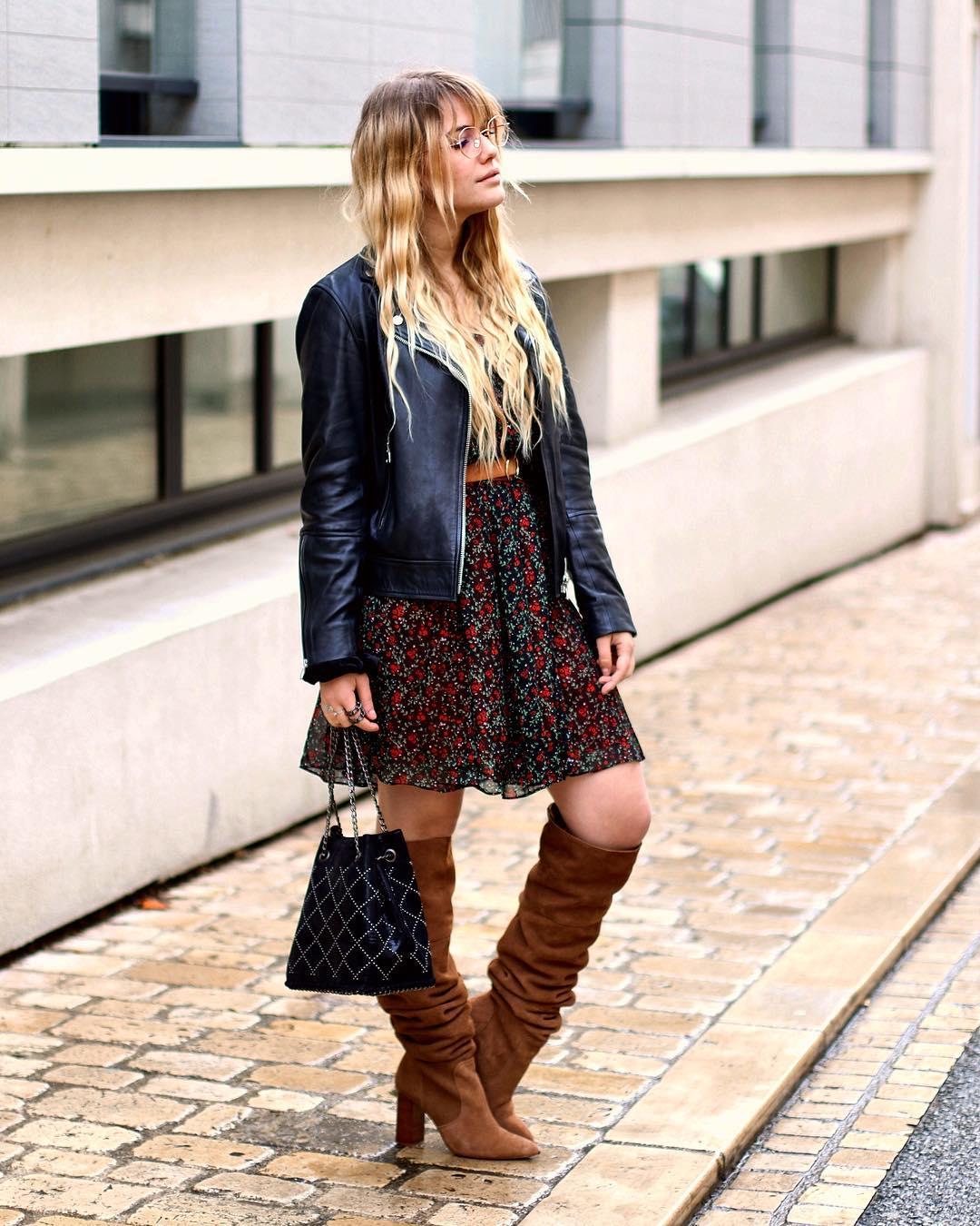 La blogueuse Liaofficiel porte notre robe sensible dans un look rock
