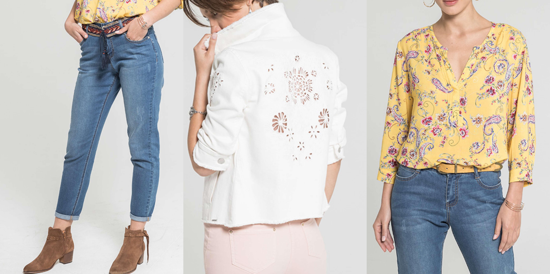 mom jean secundo, blouson spirale et blouse jaune aux imprimés fleuri solide