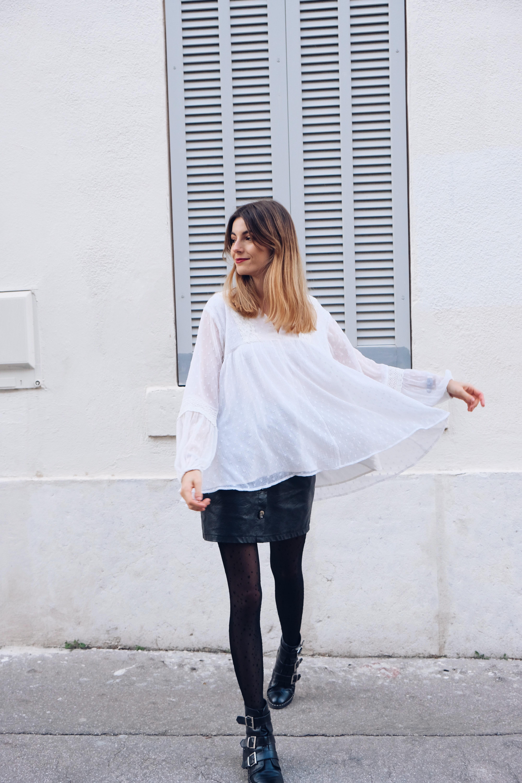 Valentorya porte notre blouse blanche sucre